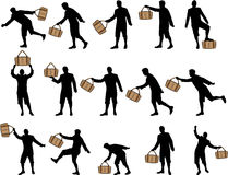 Man with a bag silhouettes Royalty Free Stock Photos