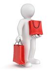 Man and bags (clipping path included) Stock Images