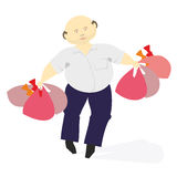 Man with bags. Man with grocery bags after shopping Royalty Free Stock Image