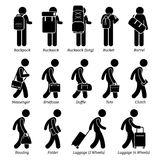 Man Bags and Luggage Design Clipart. A set pictogram representing man using various bag styles which are backpack, rucksack, bucket, barrel, messenger, briefcase Royalty Free Stock Photos