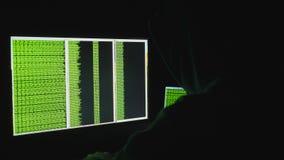 Man bak datorbildskärmen Exponeringsglas för en hacker för internetböjelsereflexion som brotts- sent bläddrar - nattkodCyber stock video