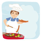Man baked sausage on grill. Royalty Free Stock Images