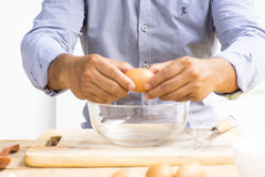 Man baking bread  and mix the flour with water.Close up Stock Photos