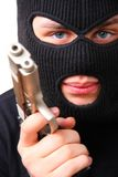 Man in balaclava with gun Royalty Free Stock Photo