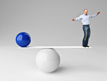 Man in balance. Caucasian man try to balance himself background Royalty Free Stock Images