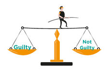 A Man in Balances Himself in a Justice Scale. Editable Clip Art. Royalty Free Stock Images