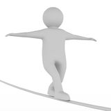 Man balances on rope. Isolated 3D image Royalty Free Stock Photo