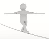 Man balances on rope. Isolated 3D image Royalty Free Stock Image