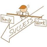 Man balancing family and work. Cartoon Stock Photos