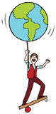 Man Balancing the World vector illustration