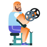 Man bald fitness muscle workout dumbbells. In the gym mustached man plays sports. Holding a dumbbell. Weightlifting, fitness, health vector illustration