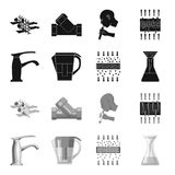 Man, bald, head, hand .Water filtration system set collection icons in black,monochrome style vector symbol stock. Illustration Stock Images