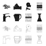 Man, bald, head, hand .Water filtration system set collection icons in black,outline style vector symbol stock. Illustration Stock Photography