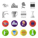Man, bald, head, hand .Water filtration system set collection icons in monochrome,flat style vector symbol stock. Illustration Royalty Free Stock Images