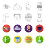 Man, bald, head, hand .Water filtration system set collection icons in outline,flet style vector symbol stock. Illustration Royalty Free Stock Photography