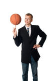 Man with ball. On white background Stock Images