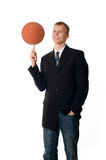 Man with ball. On white background Royalty Free Stock Image