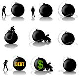 Man With Ball and Chain Burden stock illustration
