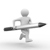 Man with ball pen on white background Royalty Free Stock Images
