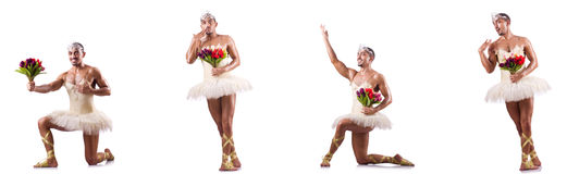 The man in ballet tutu isolated on white Stock Images