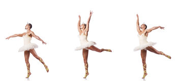 The man in ballet tutu isolated on white Royalty Free Stock Images