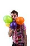 Man with balloons stock photos