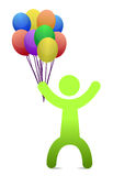 Man with balloons. Man with different color balloons isolated over a white background Stock Photography