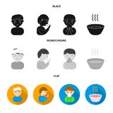 A man with a bandaged head, a man coughing, a man snorts a snot, a bowl, a bowl of hot broth into a handkerchief. Sick. Set collection icons in black, flat Royalty Free Stock Photo