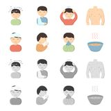 A man with a bandaged head, a man coughing, a man snorts a snot, a bowl, a bowl of hot broth into a handkerchief. Sick. Set collection icons in cartoon Royalty Free Stock Image