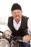 Man bandana motorcycle close really mad Royalty Free Stock Photo