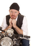 Man bandana motorcycle hands under chin Royalty Free Stock Photography