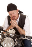 Man bandana motorcycle look down close Stock Image