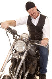 Man bandana motorcycle sit crazy face Royalty Free Stock Photos