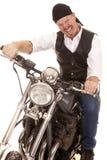 Man bandana motorcycle sit crazy face Royalty Free Stock Photos