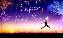 man banhoppningen och teckningen det lyckliga nya året Arkivbild