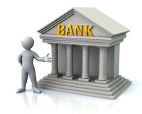 Man and bank Stock Images