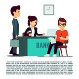 Man in bank flat illustration - vector banking service. Business finance service Stock Photography