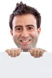 Man with a banner Royalty Free Stock Images