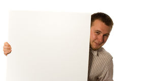 Man with banner Stock Images