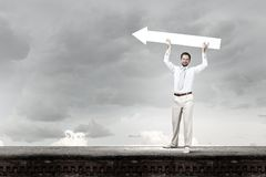 Man with banner Royalty Free Stock Images