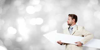 Man with banner Royalty Free Stock Photography