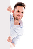 Man with a banner Royalty Free Stock Image