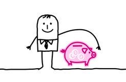 Man & banq insurance. Hand drawn cartoon characters - man & banq insurance Royalty Free Stock Images