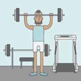 Man with barbell Stock Photography