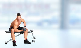 Man with barbell. Royalty Free Stock Photo