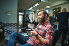 Man in barber shop Stock Image