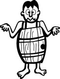 Man in a barrel. Black and white illustration of a man without clothes inside a wooden barrel vector illustration
