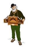 Man with barrel organ. Old man playing the barrel organ Vector Illustration