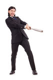 Man with baseball bat isolated Royalty Free Stock Image