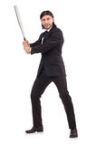 Man with baseball bat isolated Stock Photography